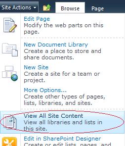 View All Site Content Site Actions Menu Item