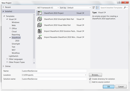 Create SharePoint Project In Visual Studio 2012