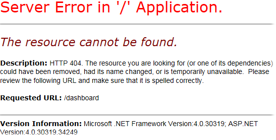 ASP.Net 404 page not found